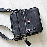 Мужская сумка через плечо, барсетка из натуральной кожи, фото 6