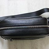 Мужская сумка через плечо, барсетка из натуральной кожи, фото 7