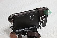 Мужская сумка барсетка коричневого цвета qp
