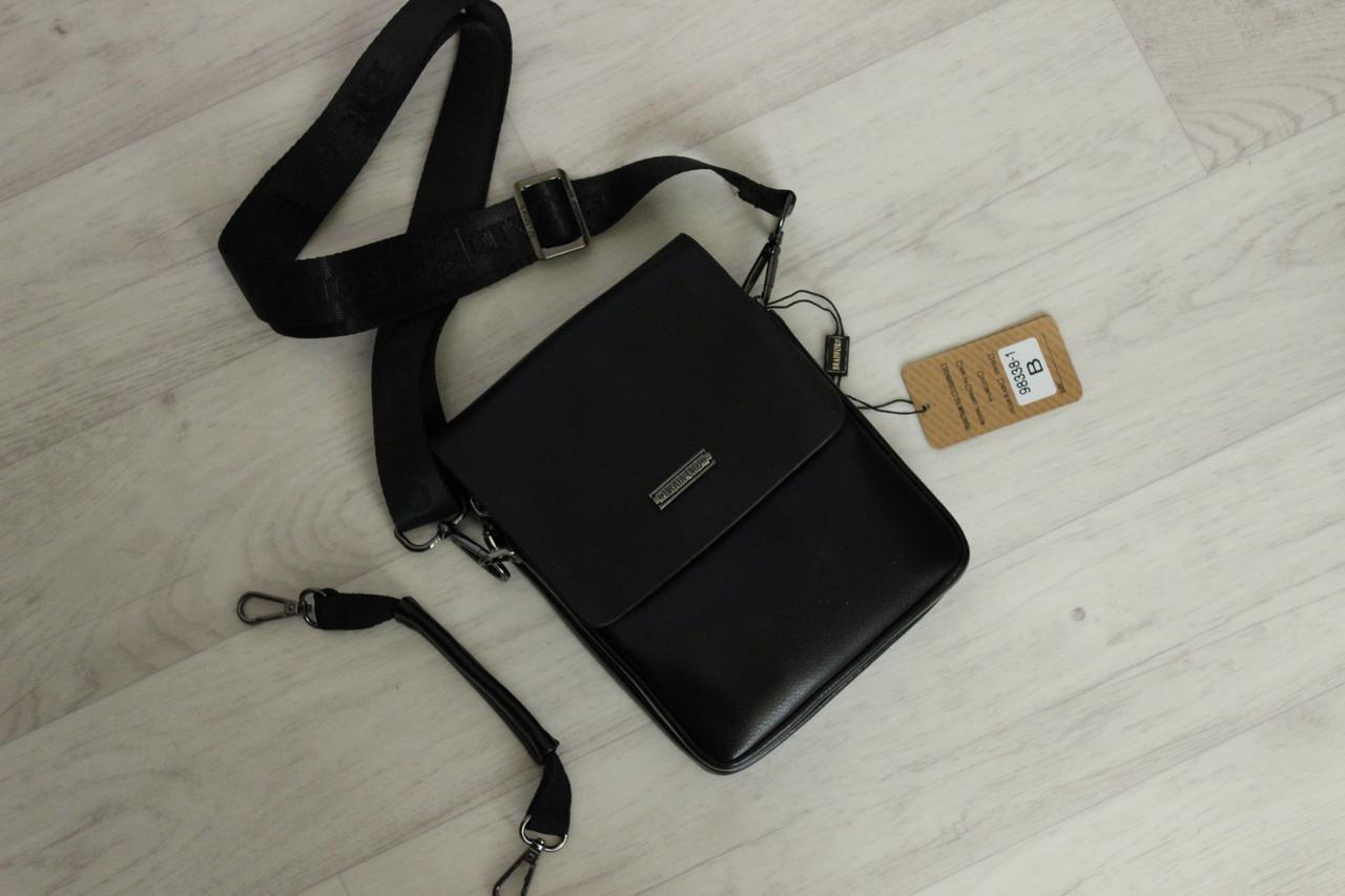 Мужская классическая сумка планшет через плечо кожаная