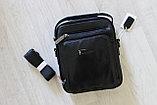 Мужская барсетка, сумка через плечо натуральная кожа, фото 9