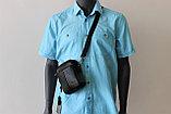 Мужская барсетка из натуральной кожи с ремнем через плечо HT, фото 7