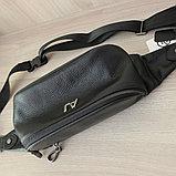 Мужская кожаная барсетка, кабура, бананка,нагрудная сумка A.Jeans, фото 3