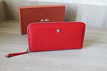 Женское портмоне из натуральной кожи, красное LoroPian