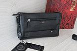 Мужская кожаная барсетка,сумка через плечо 3в1, натуральная кожа, фото 2