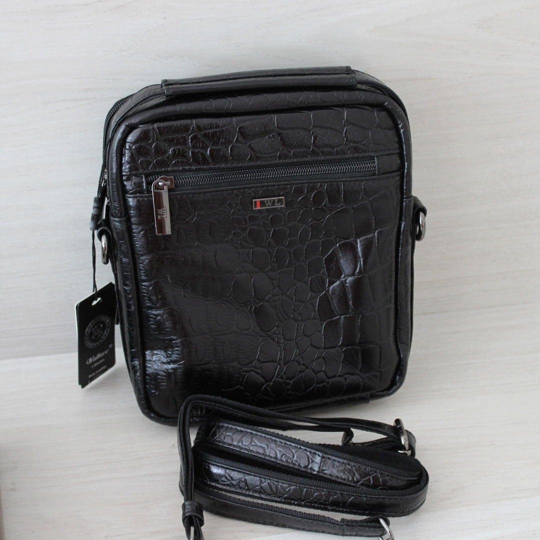 Мужская барсетка сумка через плечо из натуральной кожи