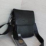 Мужская барсетка из натуральной кожи, сумка со съёмным плечевым ремнем НТ, фото 2
