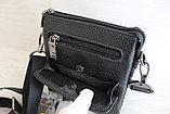 Мужская барсетка из натуральной кожи, сумка со съёмным плечевым ремнем НТ, фото 6