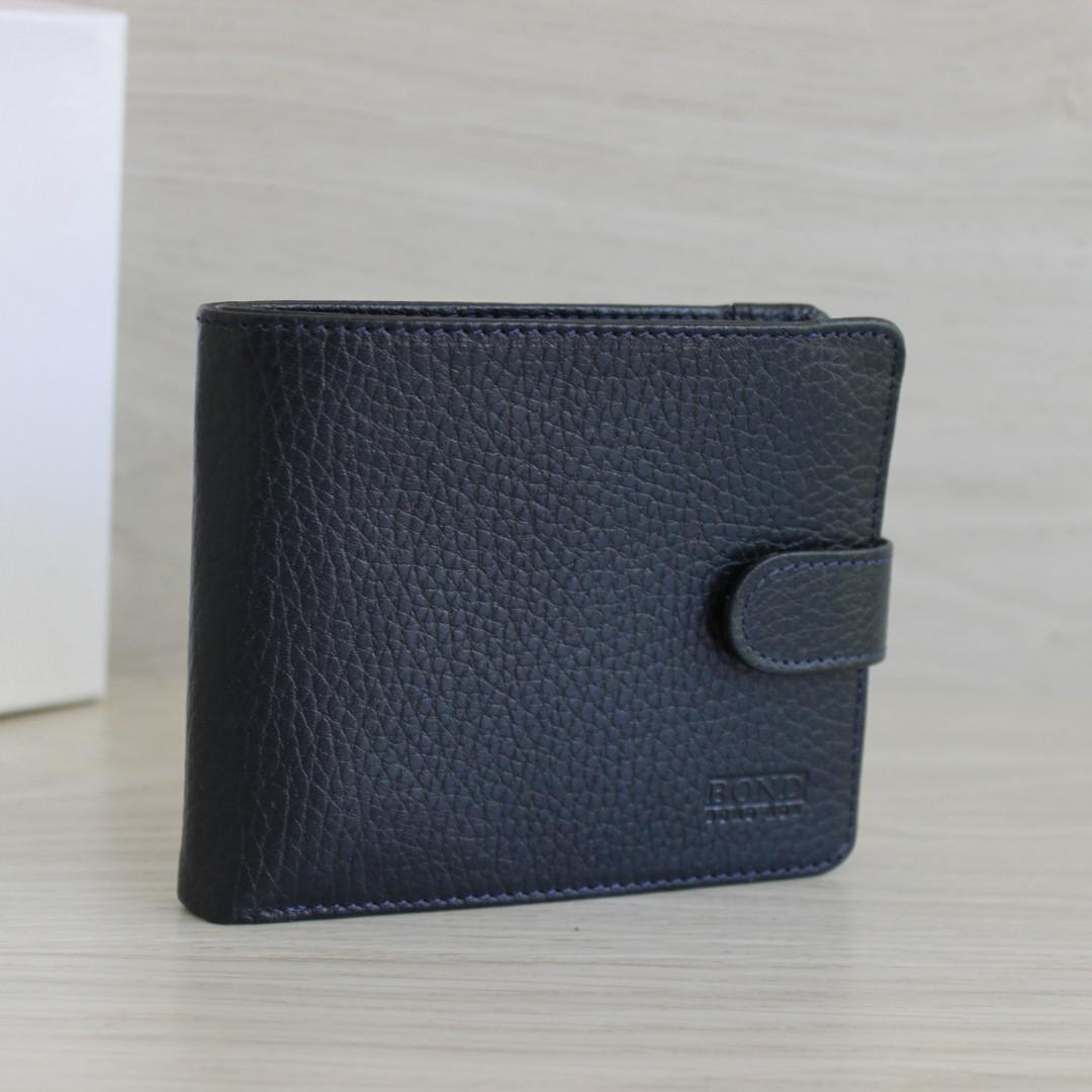 Bond Мужское портмоне из натуральной кожи темно синее