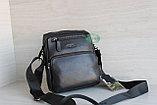 Мужская барсетка сумка через плечо из натуральной кожи HT, фото 6