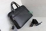 Мужская бизнес сумка, деловой портфель НТ из натуральной кожи, фото 3