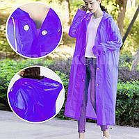 Универсальный плащ-дождевик с капюшоном на кнопках многоразовый утолщенный Peva Raincoat C1090 фиолетовый