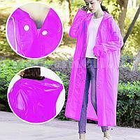 Универсальный плащ-дождевик с капюшоном на кнопках многоразовый утолщенный Peva Raincoat C1090 розовый