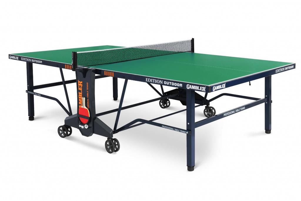 Теннисный стол EDITION Outdoor с зеленой столешницей.