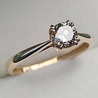 Золотое кольцо с бриллиантами 0.51Сt VVS2/N, G - Cut, фото 1