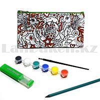 "Набор для творчества ""Пенал раскраска с блестками"" Basir МС 4677 с пони"