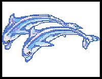 Стеклянное мозаичное панно для бассейна Два Дельфина 2505, фото 1