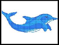 Стеклянное мозаичное панно для бассейна Дельфин 2508
