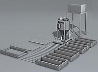 Линия для производства неавтоклавного газоблока стационарного типа МРК-5СТ производительностью 5 м3 в сутки.