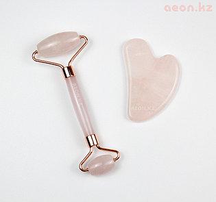 Массажер и скребок гуаша для лица с натуральным розовым кварцем