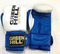 Боксерские перчатки GREEN HILL кожа (цвет бело-синий) 12,14,16OZ