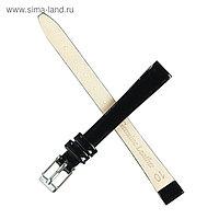 Ремешок для часов, женский, 10 мм, натуральная кожа, чёрный,