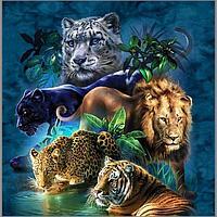 Алмазная мозаика 'Дикие кошки' 45x45 см, 40 цветов