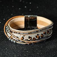 """Браслет ассорти """"На магните"""" узор леопарда, цвет серо-коричневый в серебре, 19,5 см"""