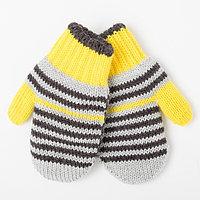 Варежки детские двойные, цвет жёлтый, размер 12