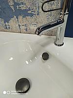 Заглушка слива перелива  металл, черный мат, фото 1