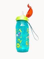 """Бутылочка для воды и других напитков с трубочкой """"Цифры"""" со шнурком, 400 мл, цвета в ассортименте, 12шт"""