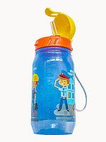"""Бутылочка для воды и других напитков с трубочкой """"Профессии"""" со шнурком, 400 мл, цвета в ассортименте, 12 шт"""