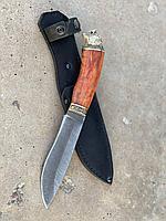 Нож Комбат с головой зверя сталь дамаск