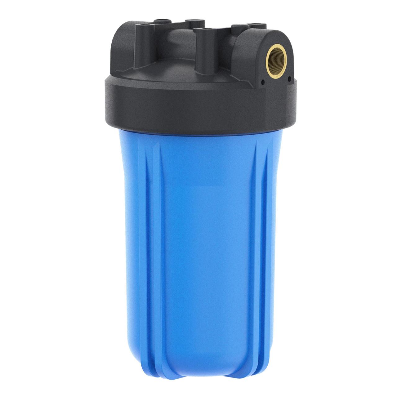 """Корпус фильтра Гейзер 10ВВ"""" 1"""" с латунными вставками для холодной воды, синий"""