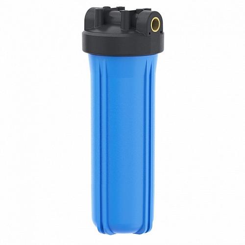 """Корпус фильтра Гейзер 20ВВ"""" 1"""" с латунными вставками для холодной воды, синий"""