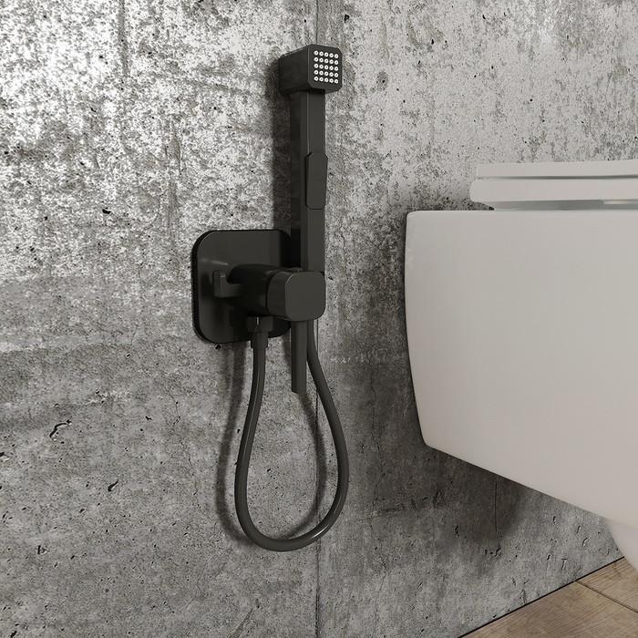 Cмеситель IDDIS Spring с гигиеническим душем, матовый черный (скругленный квадрат)