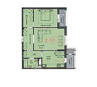 """2 комнатная квартира ЖК """"Аскер"""" 66.03 м2, фото 1"""