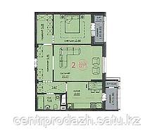 "2 комнатная квартира ЖК ""Аскер"" 66.03 м2"