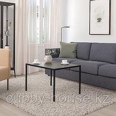 НИБОДА Журнальный стол/2-сторон столешница, темно-серый под бетон, черный, 75x60x50 см, фото 2