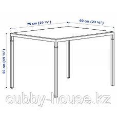 НИБОДА Журнальный стол/2-сторон столешница, темно-серый под бетон, черный, 75x60x50 см, фото 3