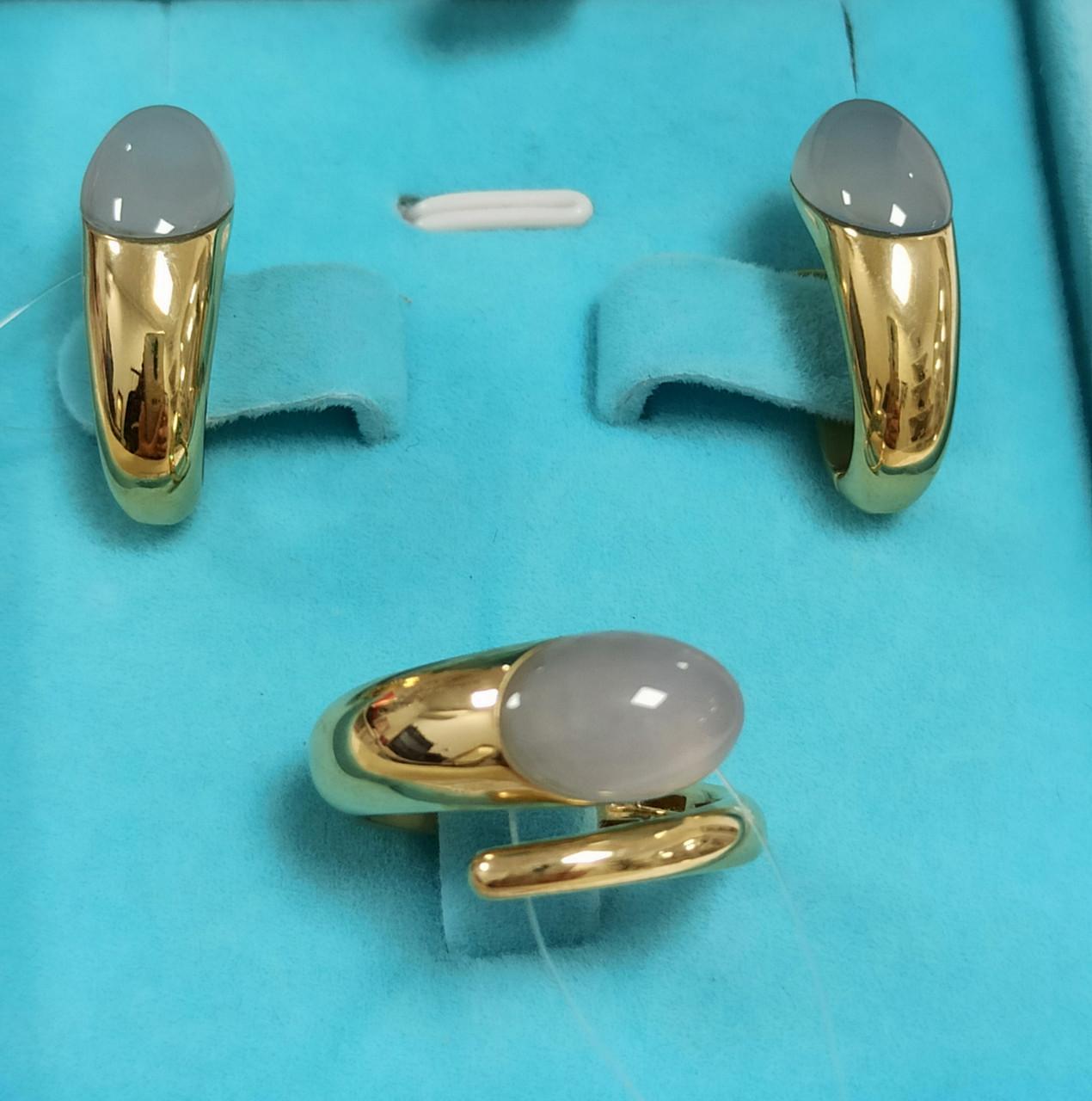 Золотой комплект с лунным камнем / Roberto Bravo