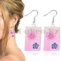 Серьги с гавайскими цветочками прямоугольные в светло-розовых оттенках
