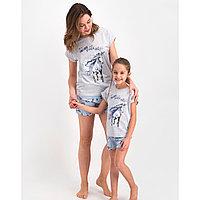 Пижама детская девичья 3-4/ 98-104 см, Серый меланж
