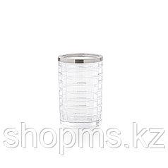 ATHENA Стакан для зубной пасты и щётки. Стекло и металл. Диаметр- 7 см, высота- 10,5 см. D-20702
