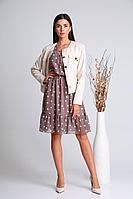 Женская осенняя шифоновая куртка и платье Verita 2113 кремовый+капучино 44р.