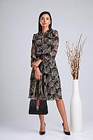 Женское осеннее шифоновое черное платье Verita 2122 48р.