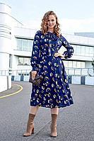Женское осеннее шифоновое синее платье Lyushe 2682 44р.