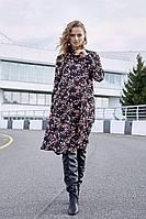 Женское осеннее шифоновое черное большого размера платье Lyushe 2686 44р.
