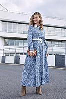 Женское осеннее шифоновое голубое платье Lyushe 2697 44р.