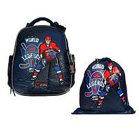 Рюкзак каркасный, Hummingbird TK, 37 х 32 х 18 см, с мешком для обуви, 'Хоккеист'
